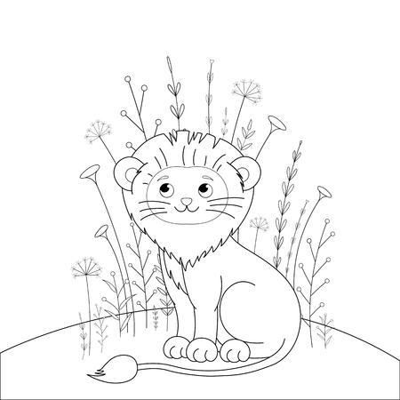 libro de colorear para niños con animales de dibujos animados. Tareas educativas para niños en edad preescolar lindo león. Ilustración de vector