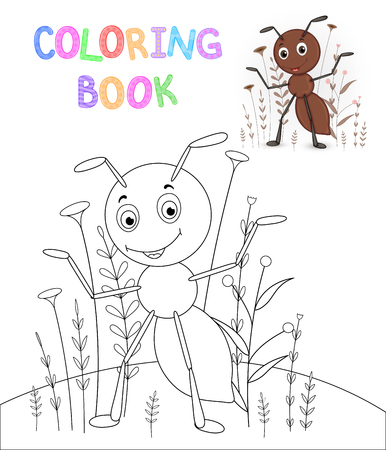 children's coloring book with cartoon animals. Educational tasks for preschool children cute ant