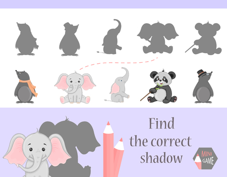 Find the correct shadow, education game for children. Cute Cartoon animals and Nature. vector illustration