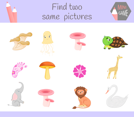 find two same pictures. Cartoon Vector Illustration Educational Activity for Preschool Children