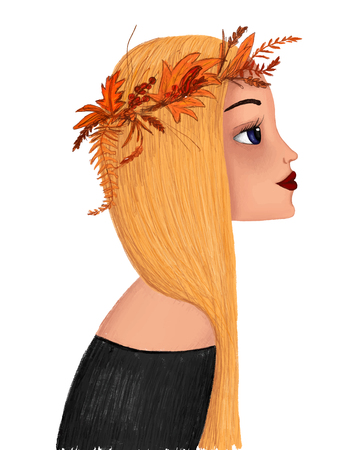 portrait of a cartoon girl with yellow hair with a wreath on her head.