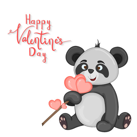 cartoon set with animals and lettering for Valentines day. stickers in the panda Ilustração