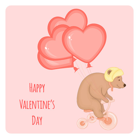 cartoon set with animals and lettering for Valentines day. stickers in the bear