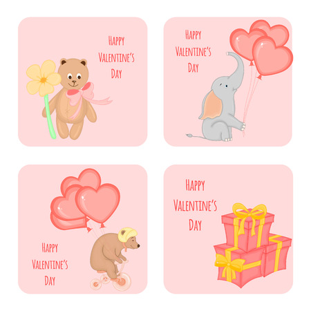 cartoon set of cards with animals for Valentines day