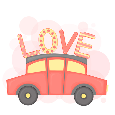 cartoon set with animals and lettering for Valentine s day. stickers in the car