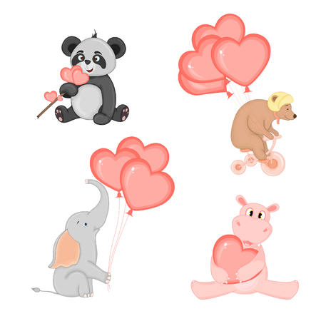 cartoon set with animals and lettering for Valentines day. stickers in the diary