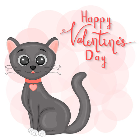 cartoon set with animals and lettering for Valentines day. stickers in the cat