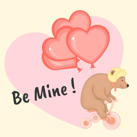 cartoon set with animals and lettering for Valentine's day. stickers in the bear