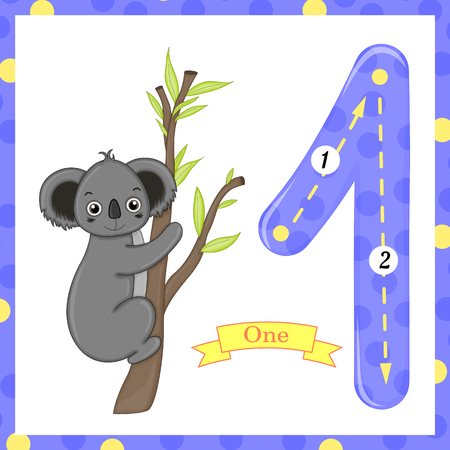 Cute children Flashcard number one tracing with 1 Koala for kids learning to count and to write.