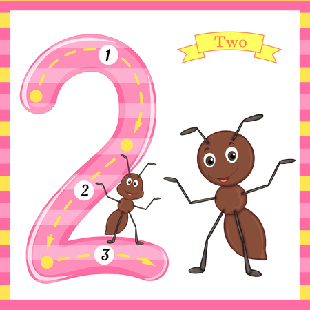 Cute kids Flash number two trace with 2 ants for kids learning to count and write. Ilustração