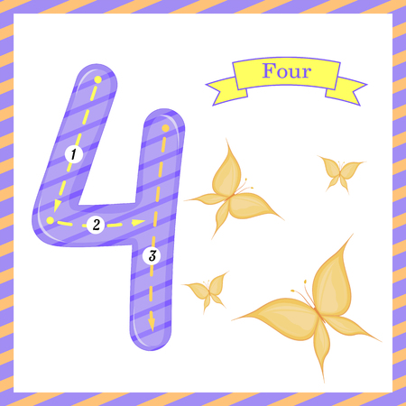 Cute children Flashcard number Four tracing with 4 butterflies for kids learning to count and to write.