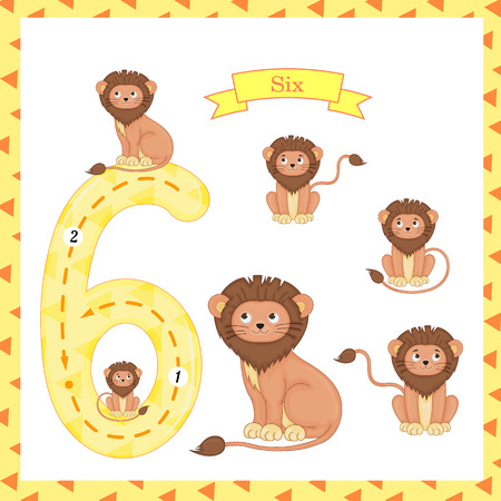 Cute children Flashcard number Six tracing with 6 lions for kids learning to count and to write. Ilustração