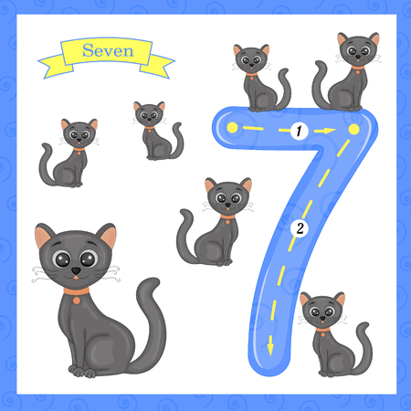 Cute children Flashcard number Seven tracing with 7 cats for kids learning to count and to write. Ilustração
