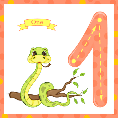 Cute kids Flash number one trace with 1 snake for kids learning to count and write.