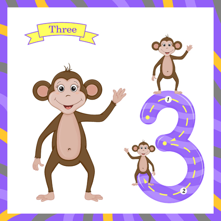 Cute children Flashcard number Three tracing with 3 monkeys for kids learning to count and to write.