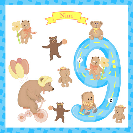 Cute children Flashcard number Nine tracing with 9 bears for kids learning to count and to write.