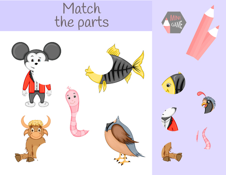 Compliance with childrens educational game. Match animal parts. Find the missing puzzles. Ilustração