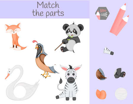 Compliance with children's educational game. Match animal parts. Find the missing puzzles. Imagens - 126101352