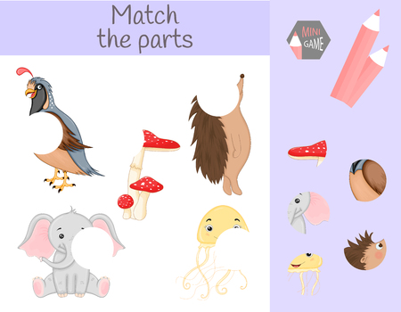 Compliance with children's educational game. Match animal parts. Find the missing puzzles. Imagens - 126101367
