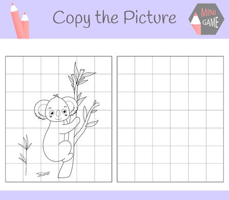 Bild kopieren: lieber Kuala. Malbuch. Lernspiel für Kinder. Vektor-Illustration.