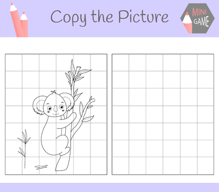 Copy the picture: dear Kuala. Coloring book. Educational game for children. Vector illustration.