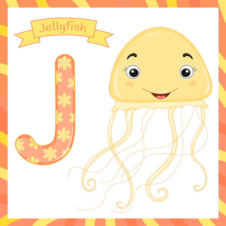 Cute children animal alphabet J letter flashcard of Jellyfish for kids learning English vocabulary Illusztráció