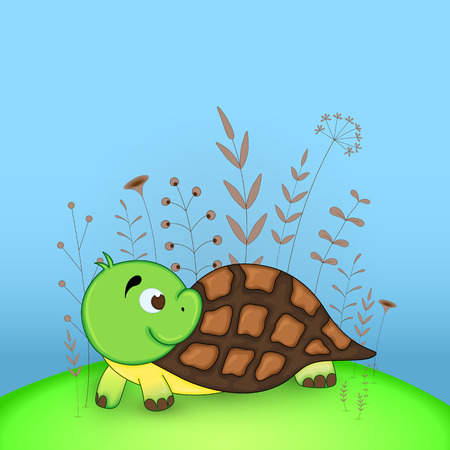 Gift postcard with cartoon animals turtle. Decorative floral background with branches and plants
