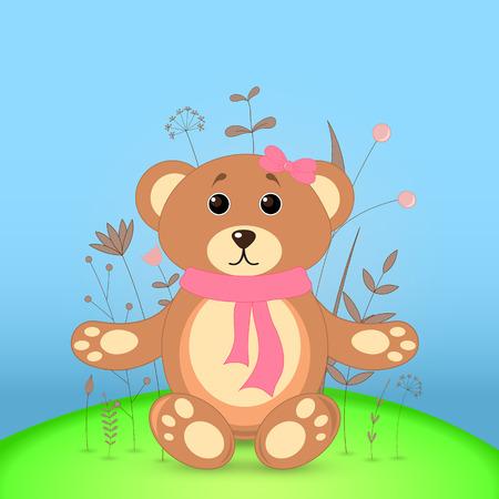 Postal de regalo con oso de animales de dibujos animados. Fondo floral decorativo con ramas y plantas.