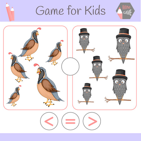 Logic educational game for preschool children.Cartoon funny robots. Choose the correct answer. Greater than, less than or equal to. Imagens - 125928877