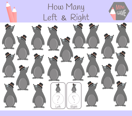 Educational Game of Counting Left and Right Oriented Pictures for Children with mole.