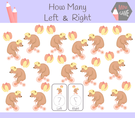 Educational Game of Counting Left and Right Oriented Pictures for Children with bear.