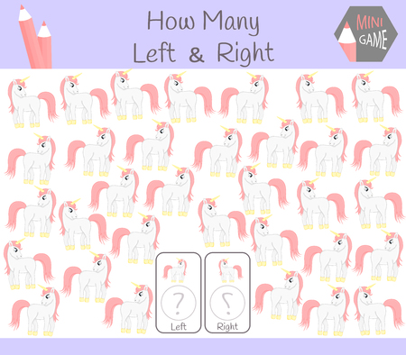 Educational Game of Counting Left and Right Oriented Pictures for Children with unicorn.