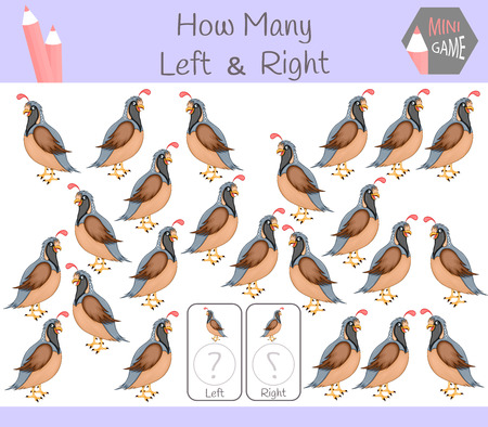 Educational Game of Counting Left and Right Oriented Pictures for Children with quail.