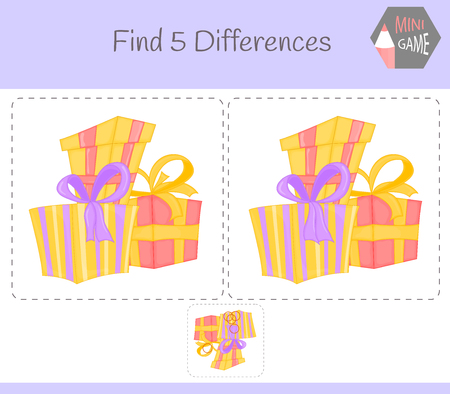 Find differences, education game for children. gift. Animals on the farm. Illustration
