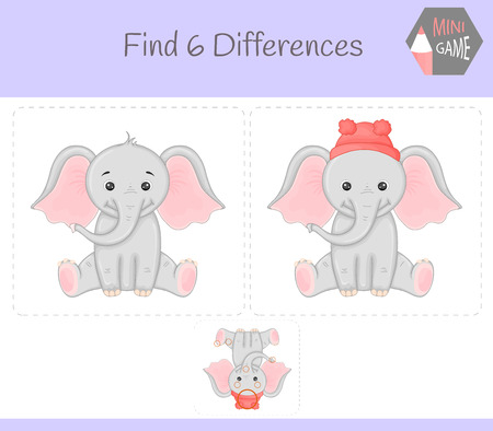 Find differences, education game for children. elephant. Animals on the farm.