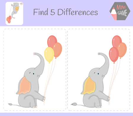 Find differences, education game for children. elephant with balloons. Animals on the farm Çizim
