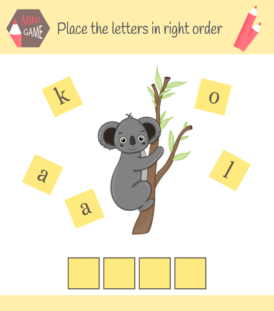 worksheet for preschool kids Words puzzle educational game for children. Place the letters in right order. Reklamní fotografie - 116184640