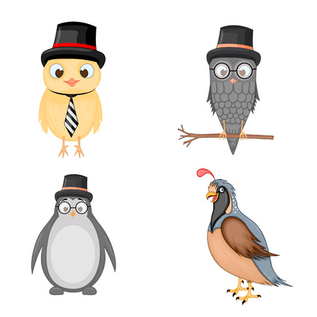 set of animals in vector isolated on white background. Cute illustrations of cartoon animals. Ilustração