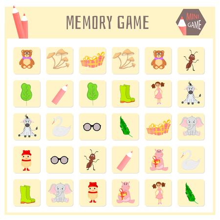 Memory game for kids, animal maps vector graphics.