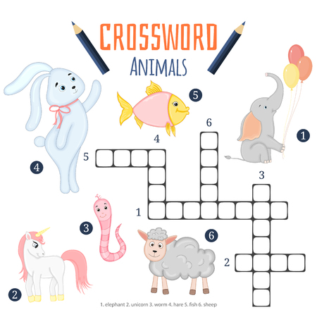 Vector color crossword, education game for children about animals.