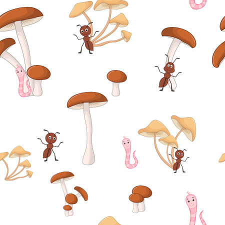 Cute seamless pattern with cartoon mushrooms and happy insects. Иллюстрация