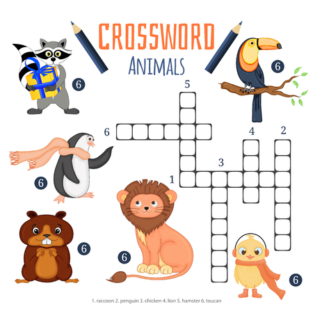 Vector color crossword, education game for children about animals 일러스트