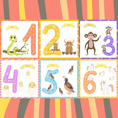 Los niños aprenden a contar y escribir. el estudio de los números 0-10. Ilustración de vector