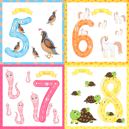 Children's learning to count and write. the study of numbers 0-10. Imagens - 125209385