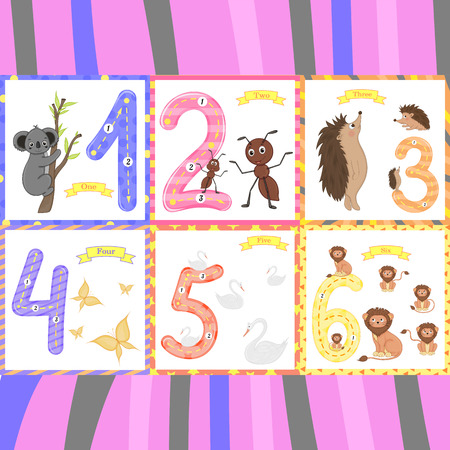 Children's learning to count and write. the study of numbers 0-10. Vectores