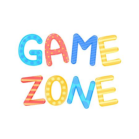 children's words game zone white background vector graphics.