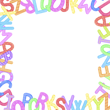 Abstract colorful alphabet ornament border isolated on white background. Vector illustration. Stock Illustratie