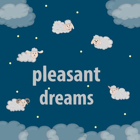 Counting sheep. Cartoon character happy jumping sheep. Sweet dreams Illustration