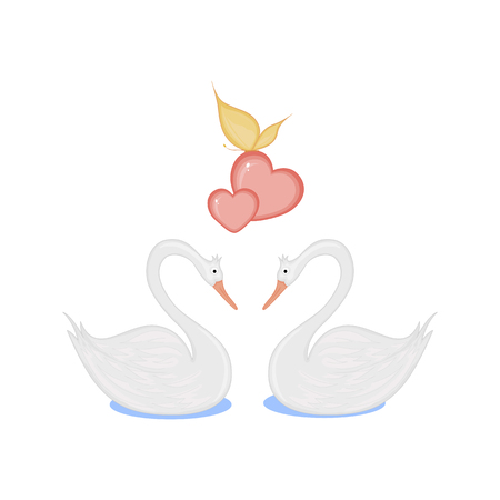vector image of two loving swans with hearts. Reklamní fotografie - 124618175