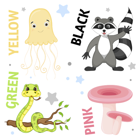 Set of wild animals and insects for children black, yellow, green, red, Banque d'images - 124501926